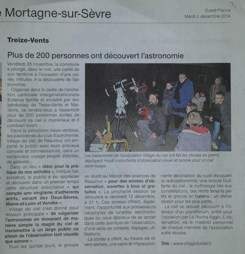 article Ouest France Observation Treize Vents du 28 NOvembre 2014