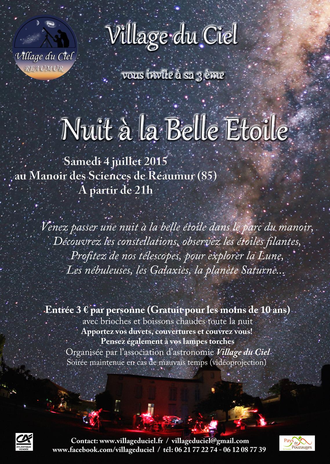 Nuit A La Belle Etoile 2015 Village Du Ciel