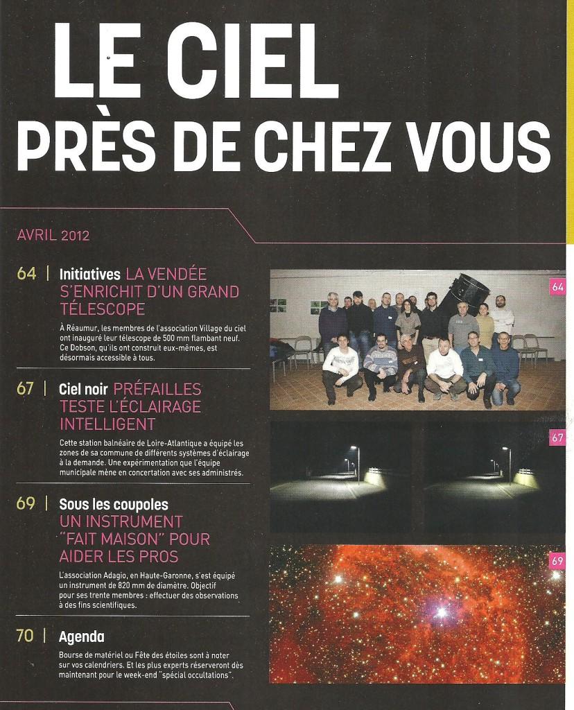M1- Inaugutation T500 24 fév. 2012 - article Ciel & Espace (sommaire)