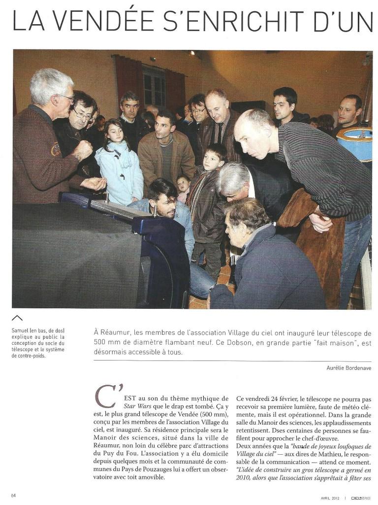 M2- Inaugutation T500 24 fév. 2012 - article Ciel & Espace (p.1)