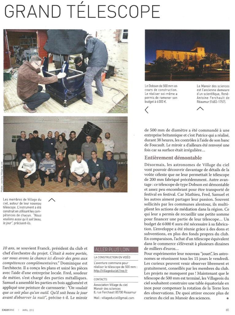 M3- Inaugutation T500 24 fév. 2012 - article Ciel & Espace (p.2)