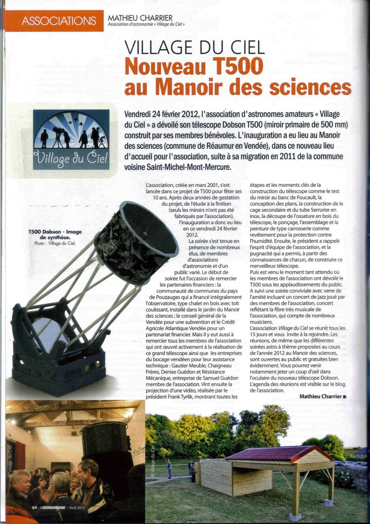 M4- Article T500 Village du Ciel-SAF Avril 2012