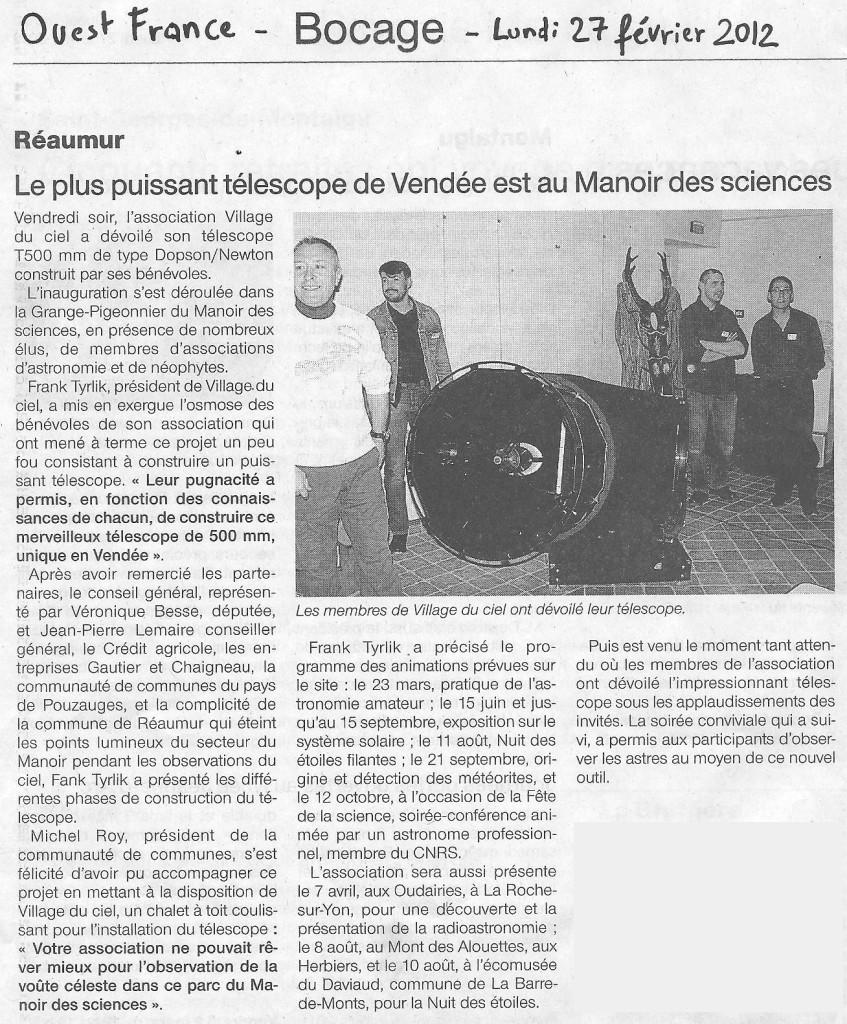 M6- Article Ouest France Réaumur - 27 Fév. 2012 - Inauguration T500 au MDS